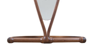 Detail of the jointed base of the Chichester Mirror in walnut