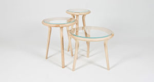 Our set of three Chichester Tables made in ash and glass
