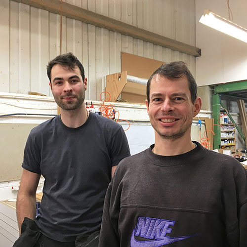 Two new members of the team: David and Peter in the workshop
