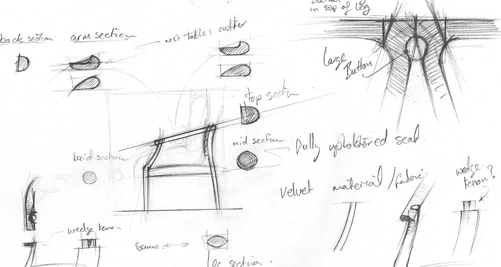 Pencil sketch of initial ideas for a bespoke chair.