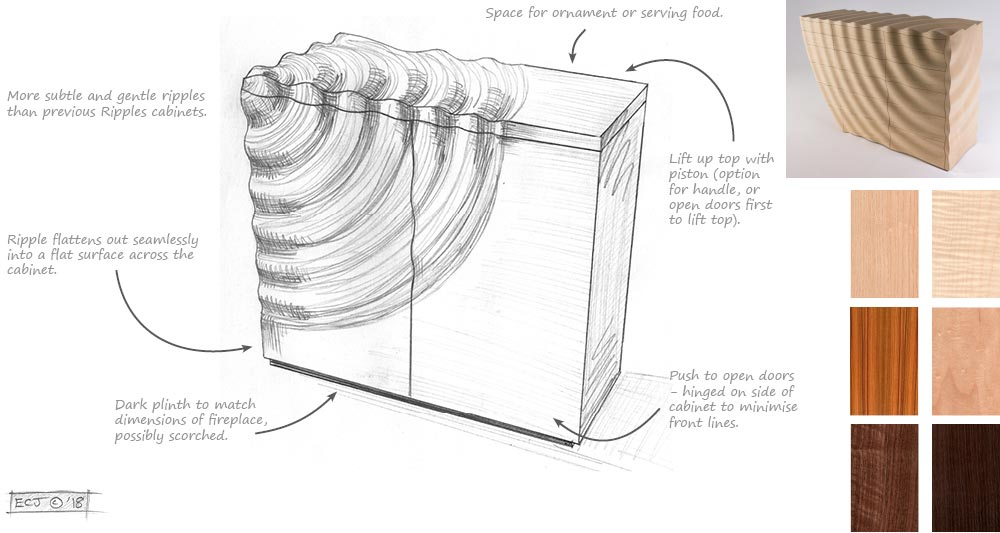 Design sheet showing sketch and wood samples for Ripples Credenza