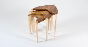 Nest of three 'Ed, Edd & Eddy' side tables shown in tiger oak with ash legs.