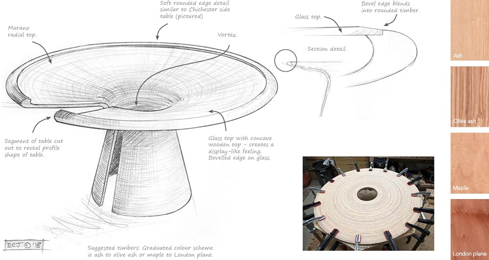 A blueprint pencil drawing and notes for the proposed Vortex Murano dining table design.