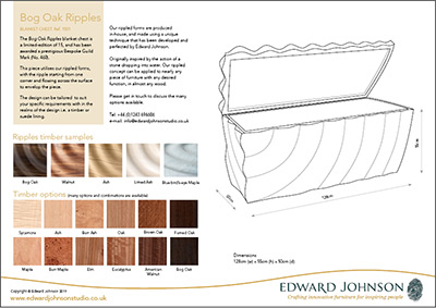 Product sheet for bespoke Bog Oak Ripples chest