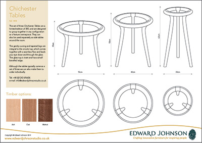 Chichester Side Tables made in ash, oak and walnut product sheet