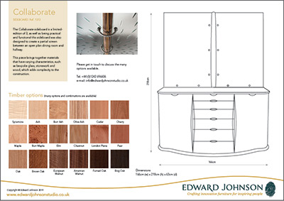 Collaborate bespoke limited-edition sideboard product sheet