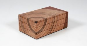 Elm and fumed oak 'family tree' bespoke heirloom box shown closed.