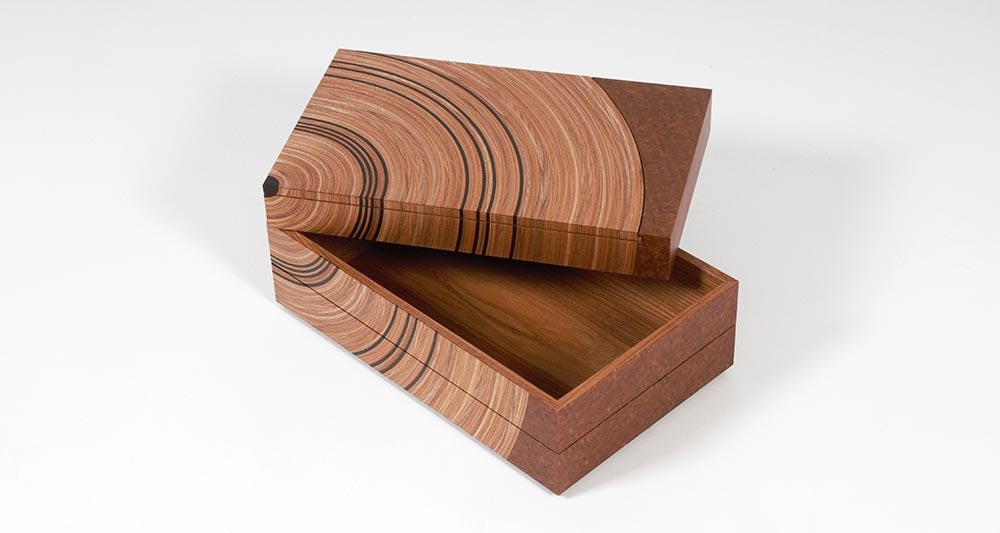 Elm and fumed oak 'family tree' bespoke heirloom box with top tray open.