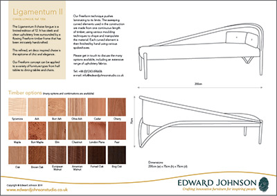 Ligamentum II bespoke limited-edition chaise longue product sheet