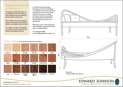 Ligamentum III bespoke limited-editiion chaise longue product sheet