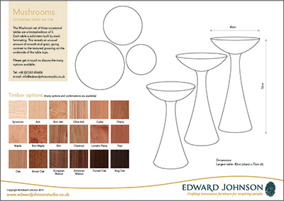 Information sheet for our bespoke Mushroom side tables.