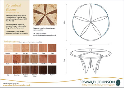 Perpetual Bloom bespoke limited-edition dining table product sheet