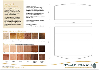 Radiant bespoke limited-edition chest of drawers product sheet