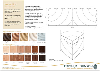 Reflection bespoke limited-edition linen chest product sheet