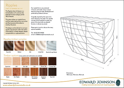 Ripples bespoke limited-edition chest of drawers product sheet