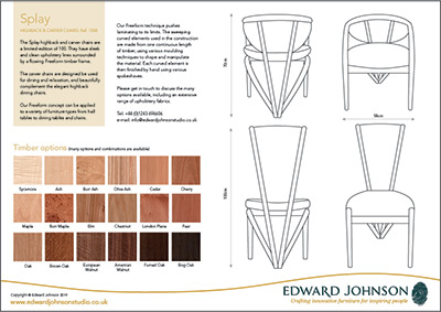Splay high-back and carver bespoke limited-edition dining chairs product sheet