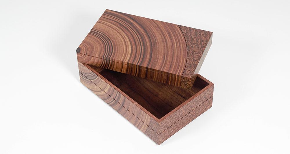 Walnut and fumed oak 'family tree' bespoke heirloom box shown top tray open.