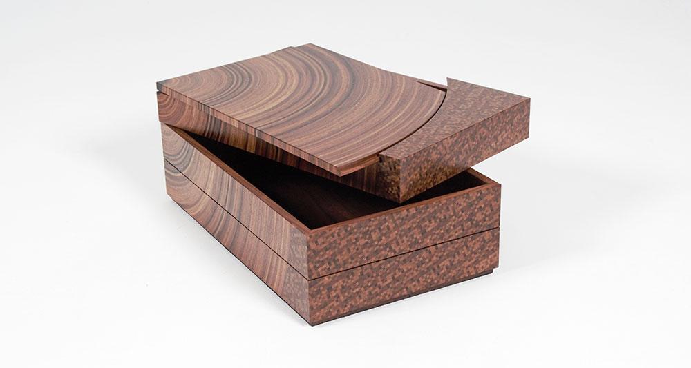 Walnut and fumed oak 'family tree' bespoke heirloom box shown top tray and lid open.