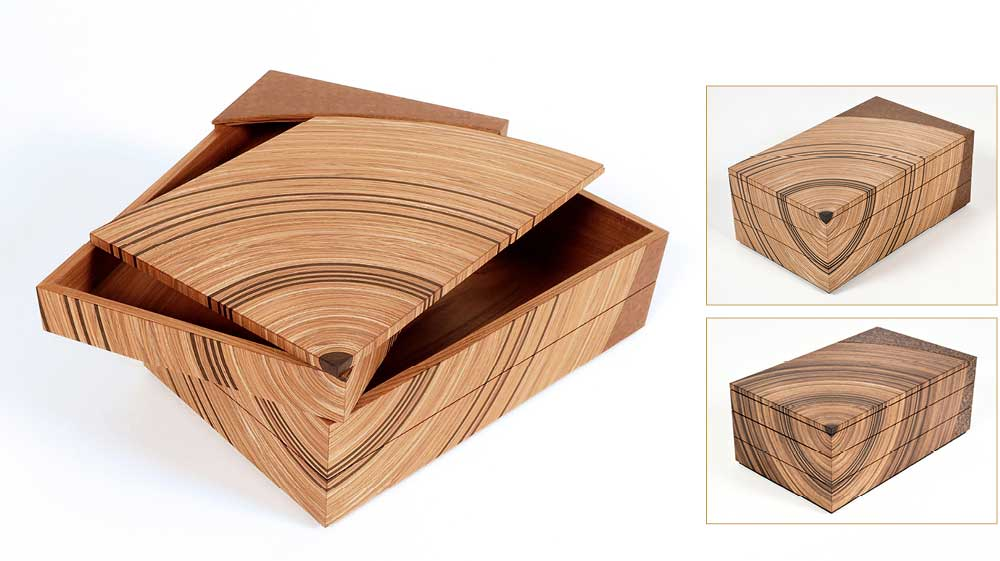 Family tree heirloom boxes made in elm and fumed oak.