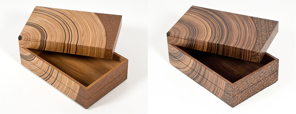 Heirloom boxes shown in elm and walnut with fumed oak inset rings.