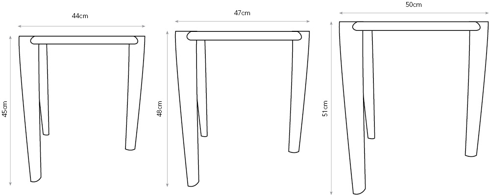 Ed, Edd & Eddy sofa tables diagram showing dimensions.