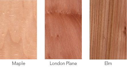 Wood samples maple, London plane and elm