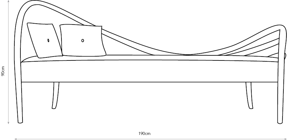 Ligamentum III chaise longue diagram with dimensions.