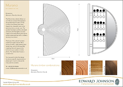 Product sheet information about our Murano key cabinet