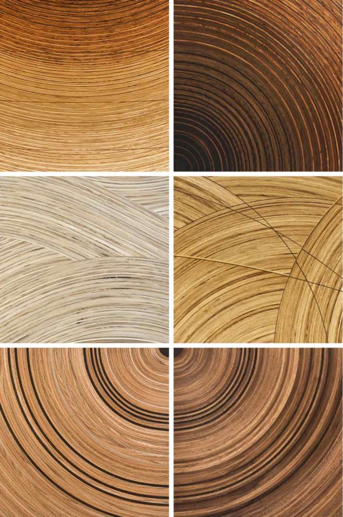 Samples of our Murano veneers in: oak, olive ash and ash: fumed oak and brown oak; ash and olive ash: oak, brown oak and fumed oak; elm and fumed oak; walnut and fumed oak.