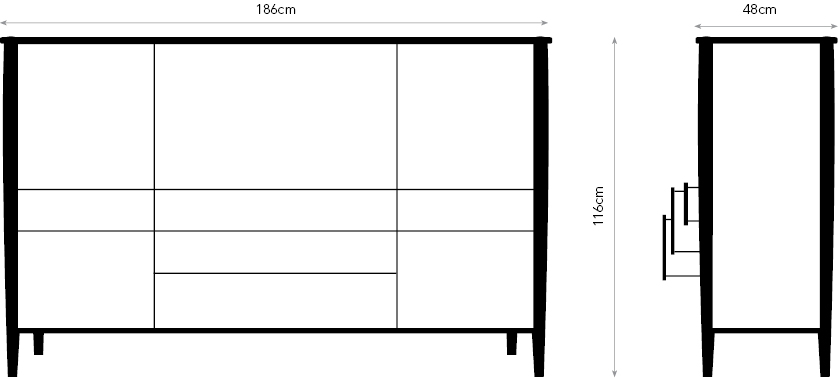 Murano sideboard diagram showing dimensions.