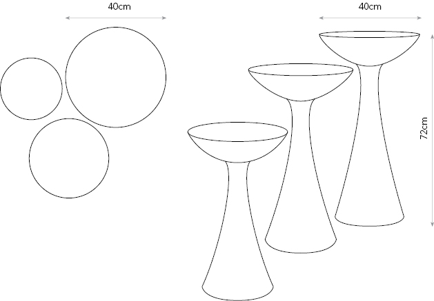 Mushrooms occasional tables diagram showing dimensions.