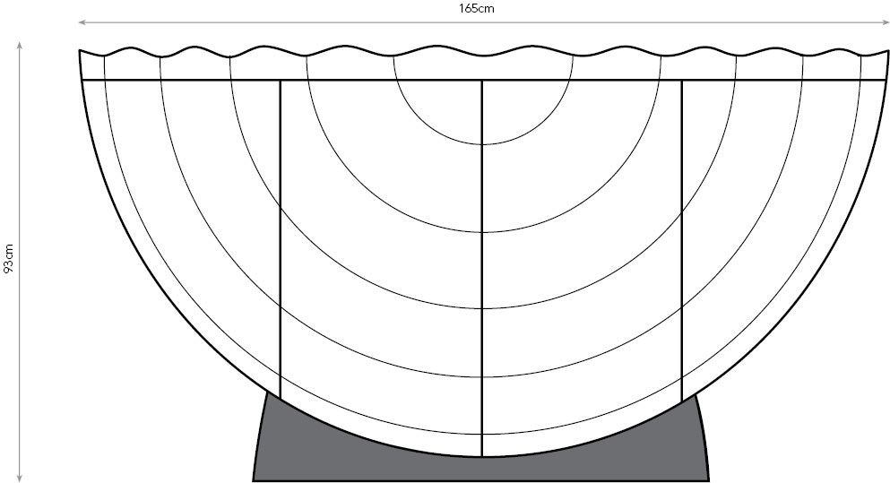 Orbis drinks cabinet diagram showing dimensions.