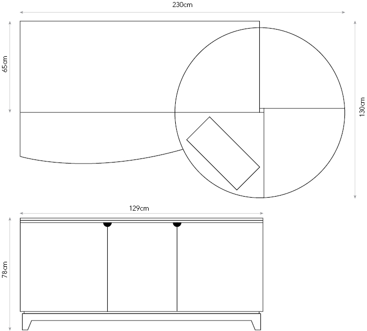 Patchwork sewing desk diagram showing dimensions.