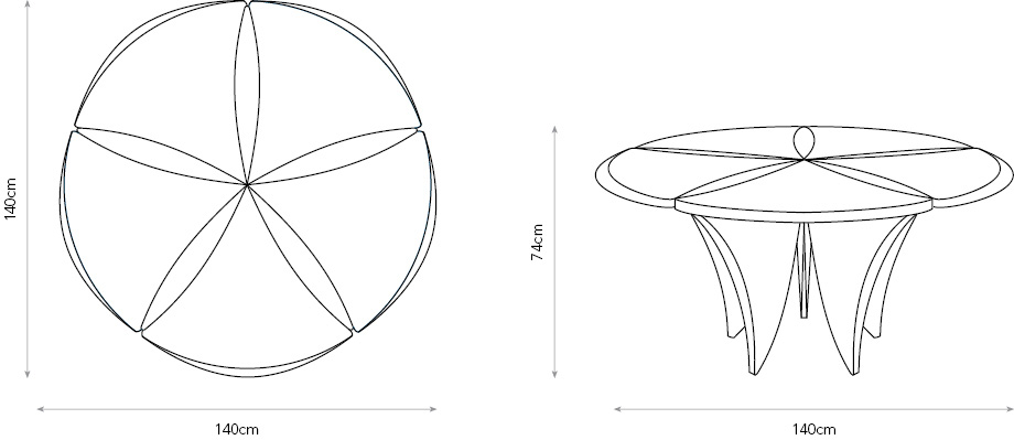 Perpetual Bloom dining table diagram showing dimensions.
