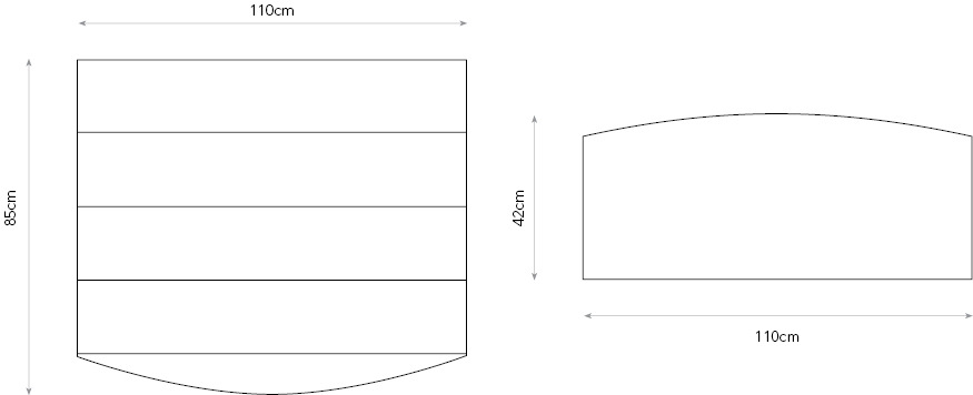 Radiant chest of drawers diagram showing dimensions.