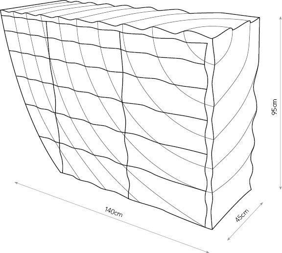 Ripples chest of drawers diagram showing dimensions.