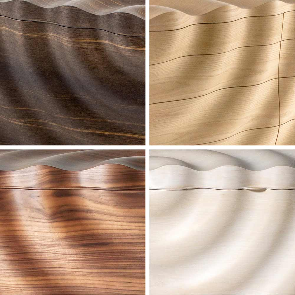 Four example of Rippled timber in bog oak, ash, walnut and limed ash.