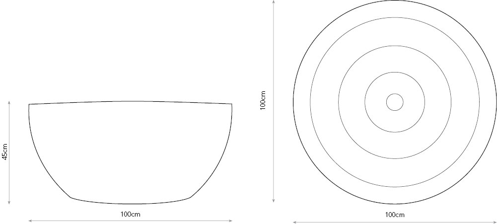 Diagram of Splash coffee table with dimensions.
