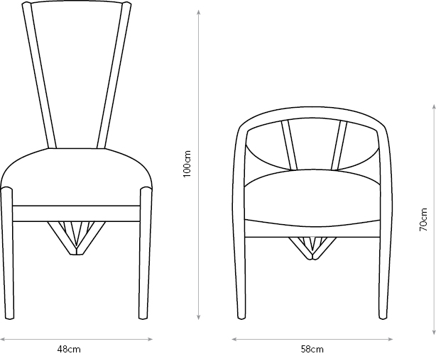 Splay high-back and carver chair diagrams showing dimensions.