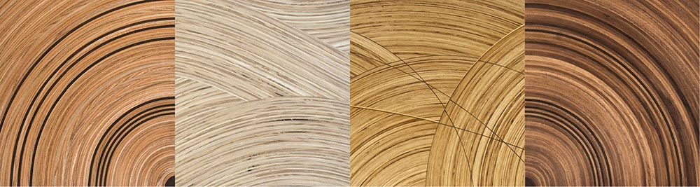 A selection of Murano veneers made with different timbers.