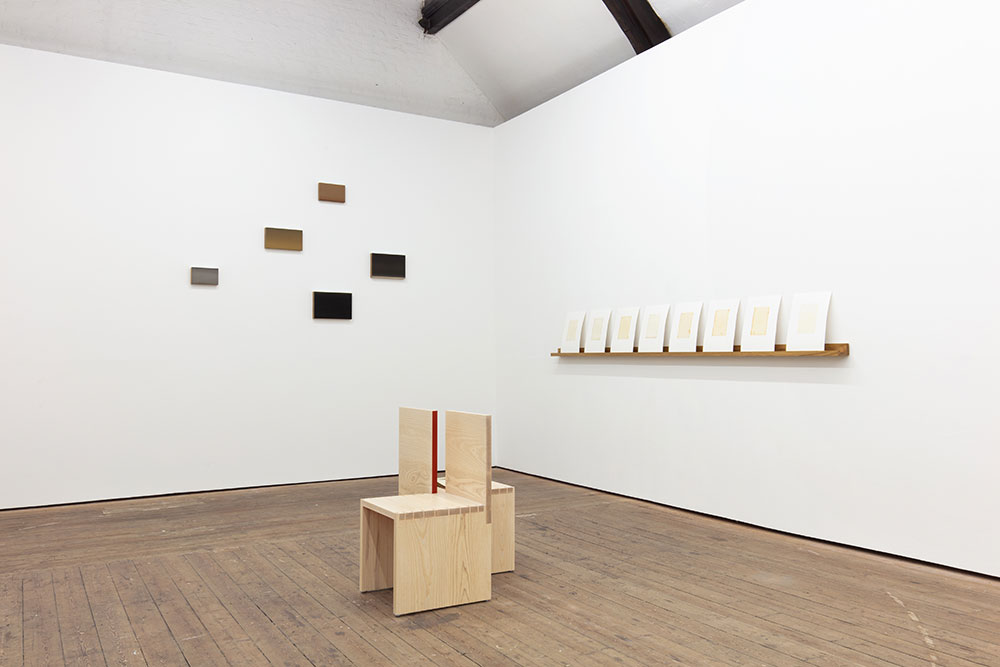 Installation view of 'Blindspot' exhibition by Jane Bustin at Copperfield Gallery, London. Including 'A variation of a kissing bench' by Jane Bustin and Edward Johnson.