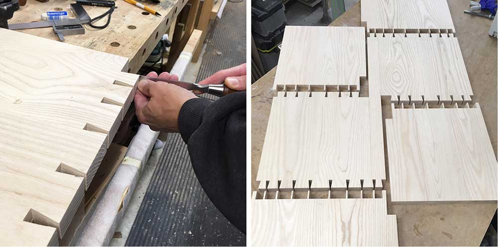 Hand-cutting dovetails joints and bench components laid out in the workshop