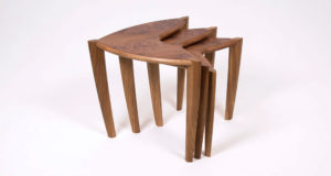 Nest of three 'Ed, Edd & Eddy' side tables shown in burr elm with oak legs.