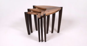 Nest of Tables - Rippled French Walnut & Fumed Oak