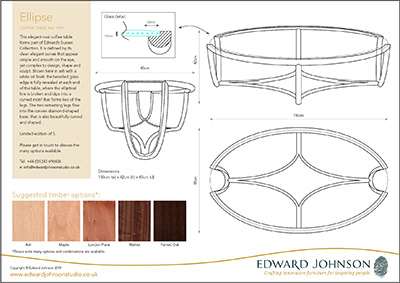Ellipse coffee table product information sheet