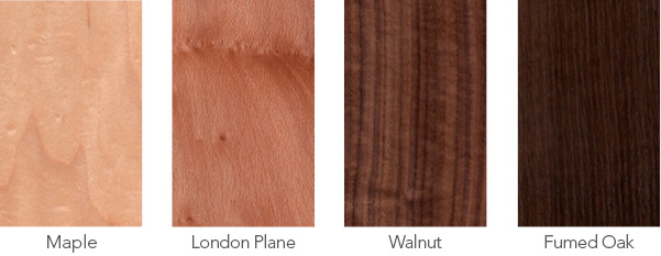 Maple, London plane, walnut and fumed oak wood samples