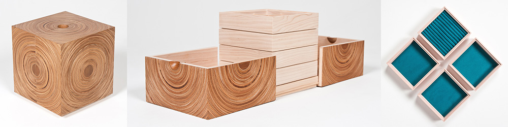 Made & Ready Furniture: Our Squaring the Circle jewellery box made in elm and maple.