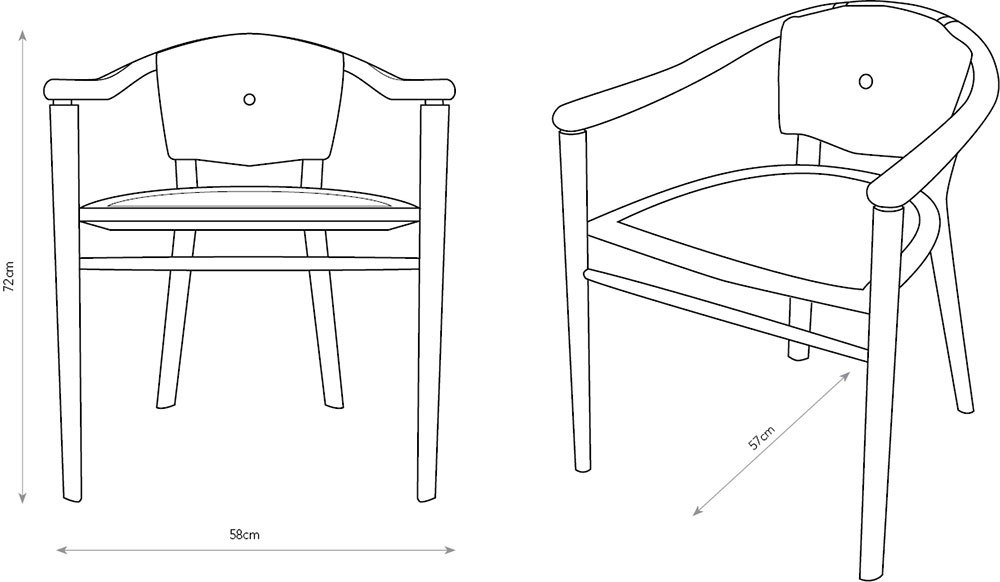 Drawing of the ash Sussex Chairs showing dimensions.