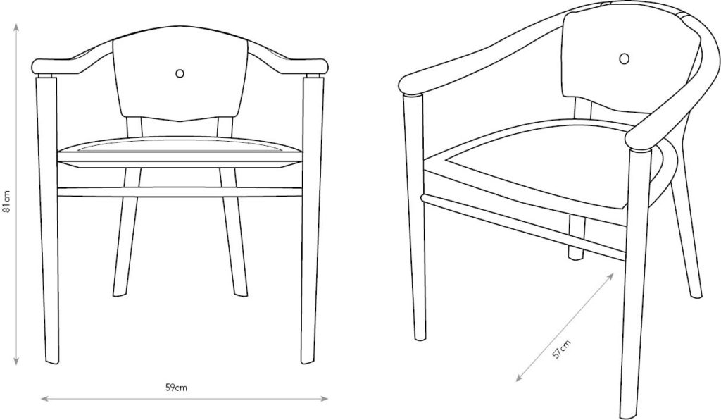 Diagram of oak Sussex Chairs showing dimensions.