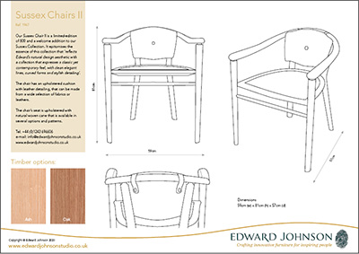Product information sheet for oak Sussex Chairs.